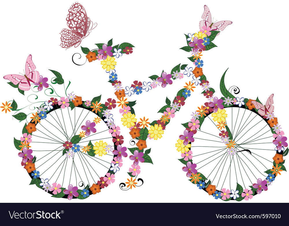 Bike flowers vector | Price: 1 Credit (USD $1)