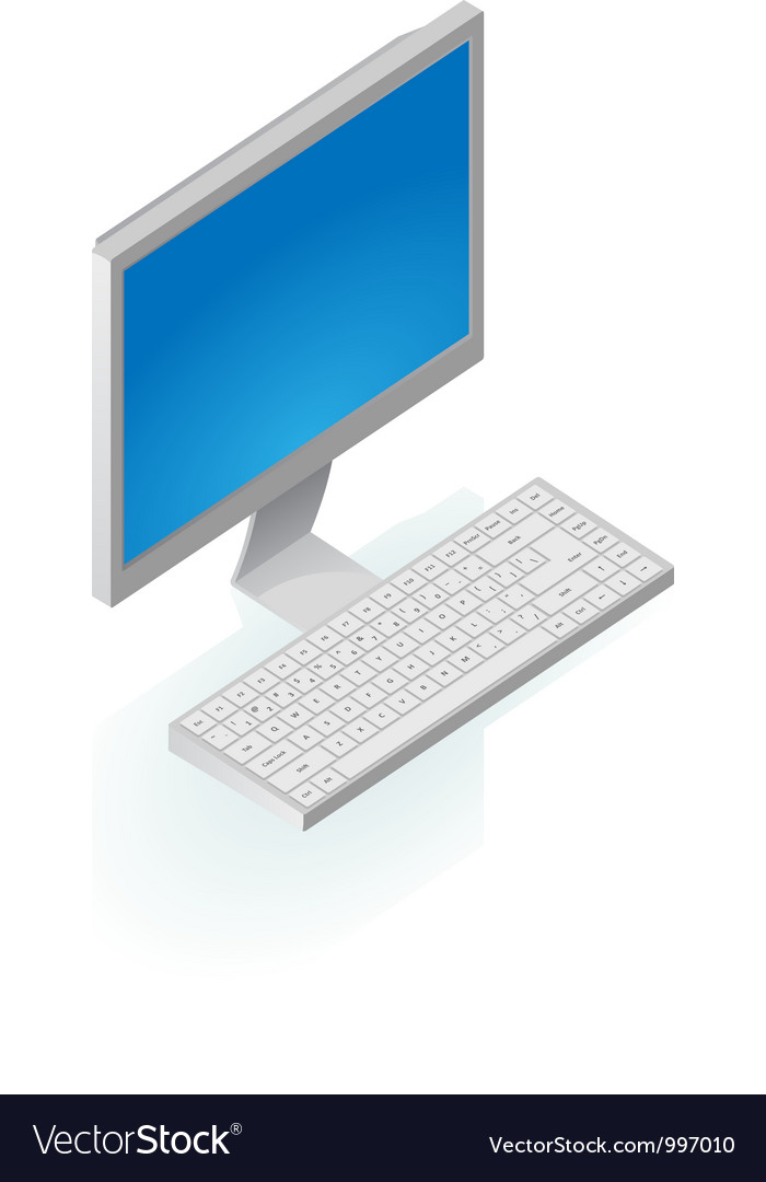 Isometric icon of desktop computer vector | Price: 1 Credit (USD $1)