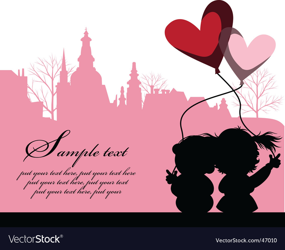 Kissing couple above the city vector | Price: 1 Credit (USD $1)