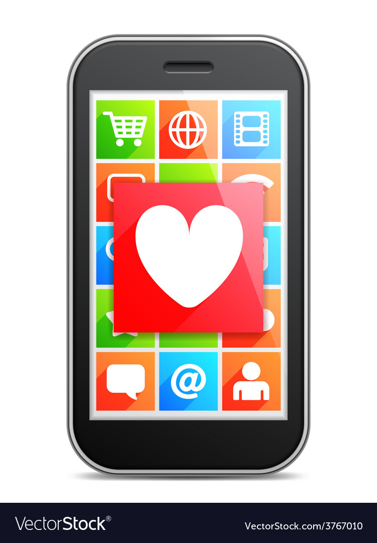 Mobile love vector | Price: 1 Credit (USD $1)