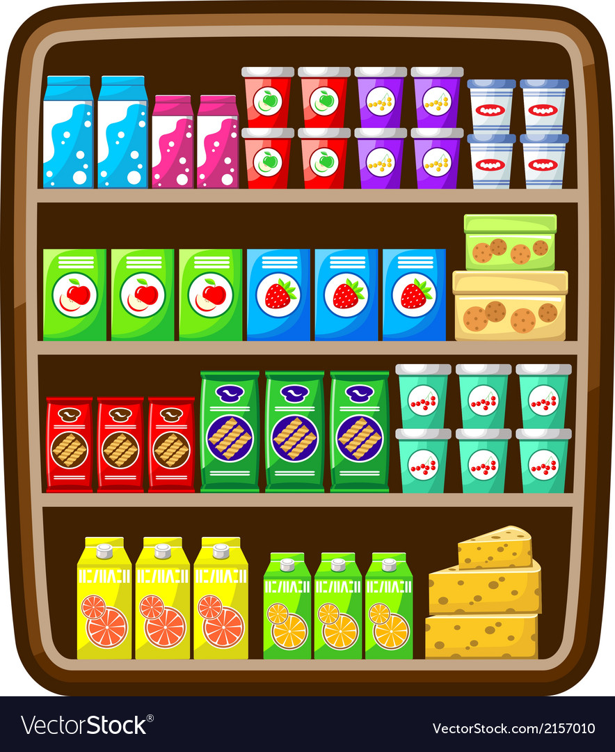 Shelfs with food vector | Price: 1 Credit (USD $1)