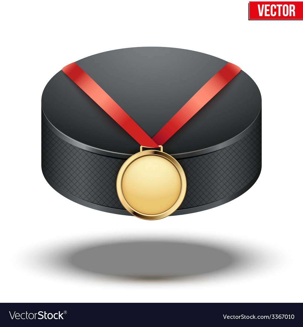 Sport gold medal with ribbon for winning ice vector | Price: 1 Credit (USD $1)