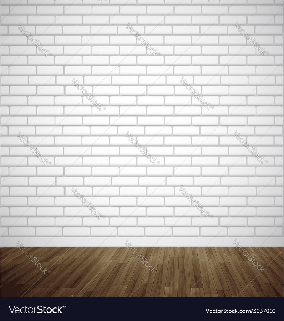 White brick room with wooden floor vector | Price: 1 Credit (USD $1)