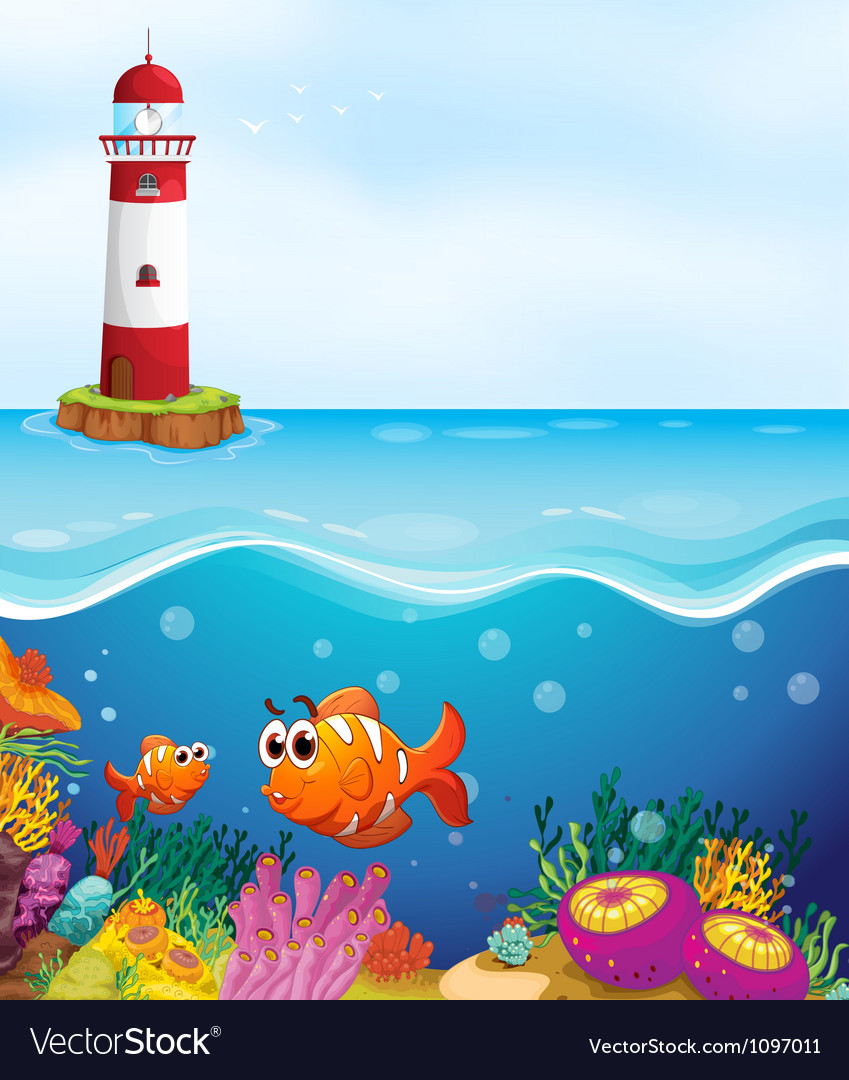 A light house fishes and coral in sea vector | Price: 1 Credit (USD $1)