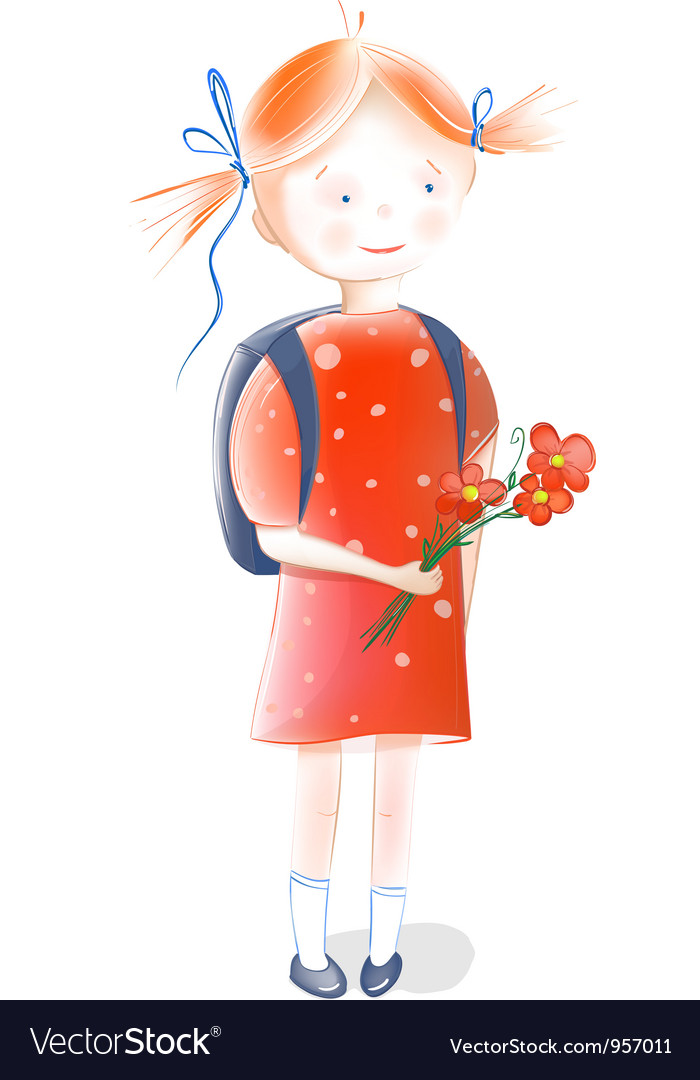 A little girl going to school vector | Price: 3 Credit (USD $3)