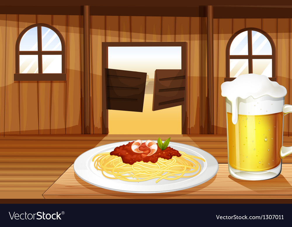A spaghetti and a glass of beer inside the saloon vector | Price: 1 Credit (USD $1)