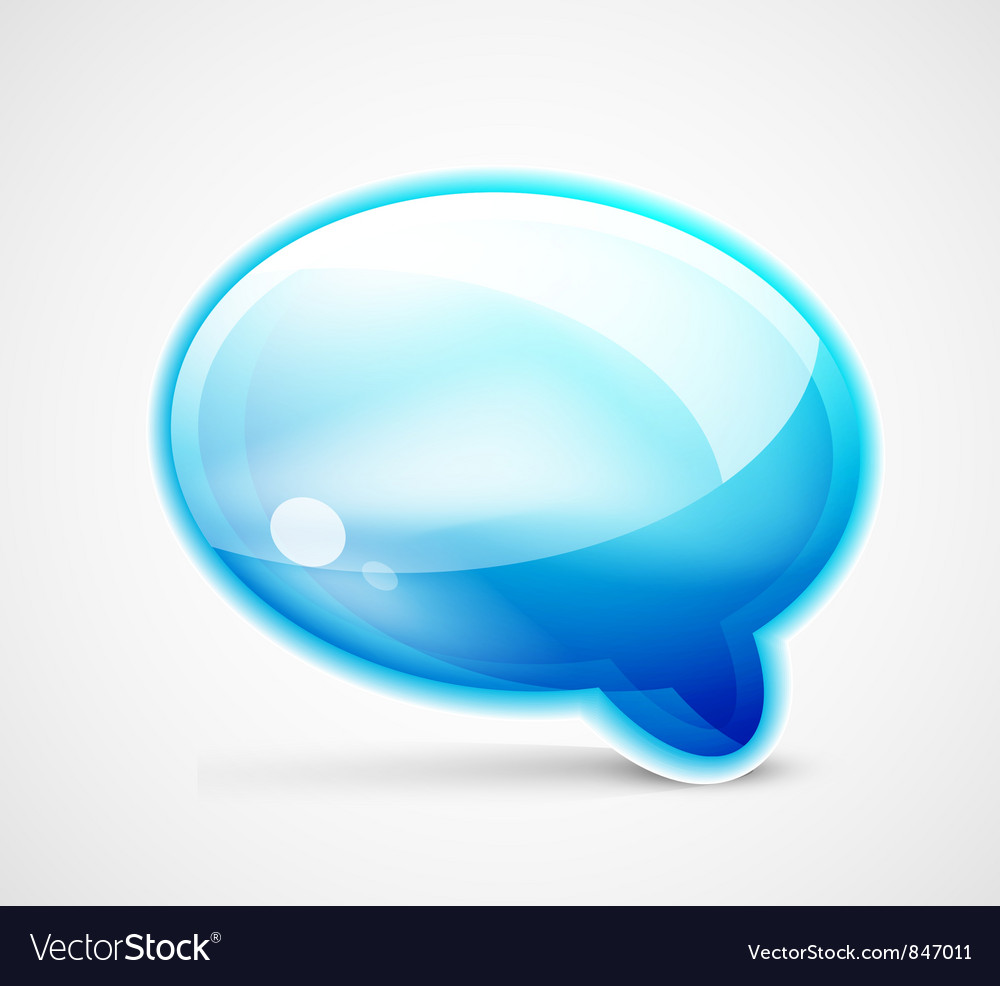 Blue glossy chat box vector | Price: 1 Credit (USD $1)