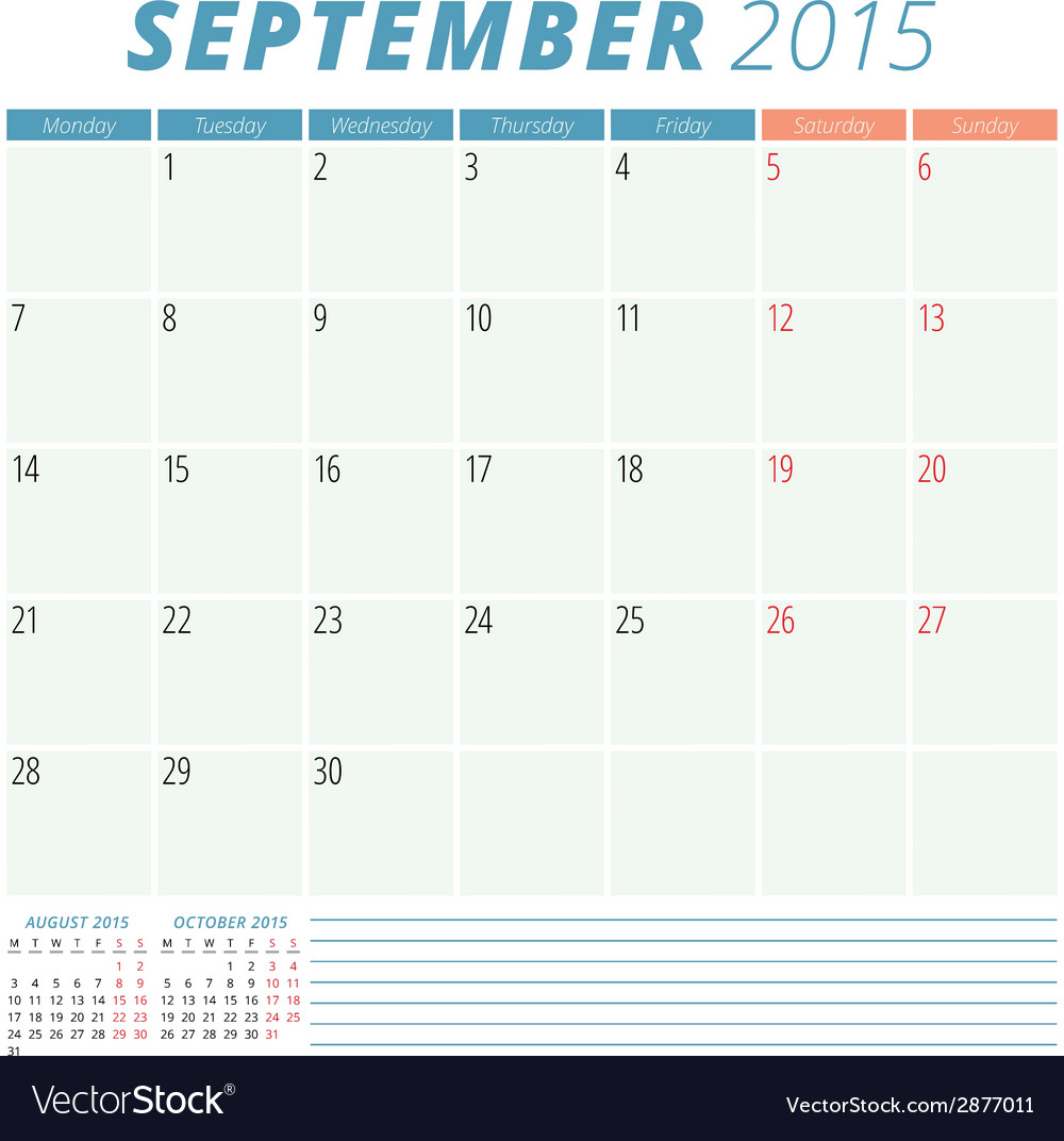 Calendar planner 2015 design template vector | Price: 1 Credit (USD $1)