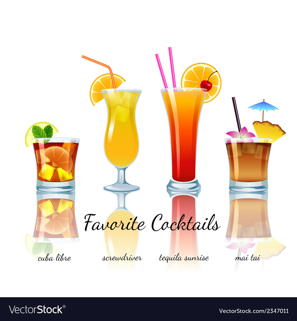 Favorite cocktails set isolated vector | Price: 1 Credit (USD $1)