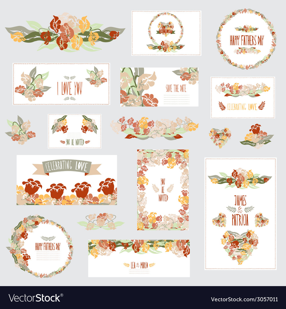 Floral cards set vector | Price: 1 Credit (USD $1)
