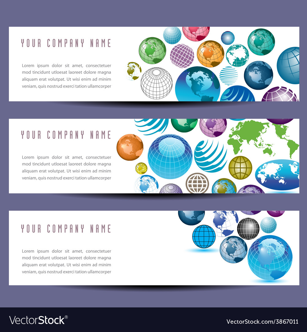 Globe banners 8976 vector | Price: 1 Credit (USD $1)