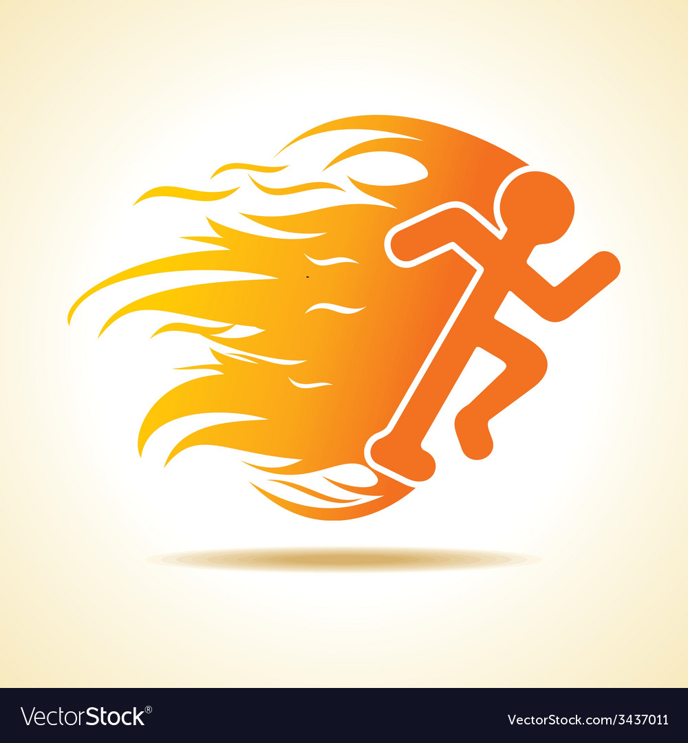 Running man icon with fire vector | Price: 1 Credit (USD $1)
