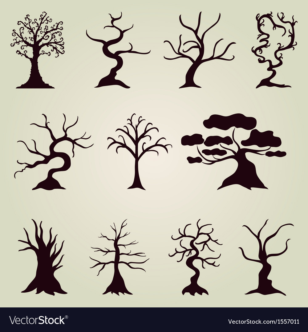 Set of 11 decorative trees vector | Price: 1 Credit (USD $1)