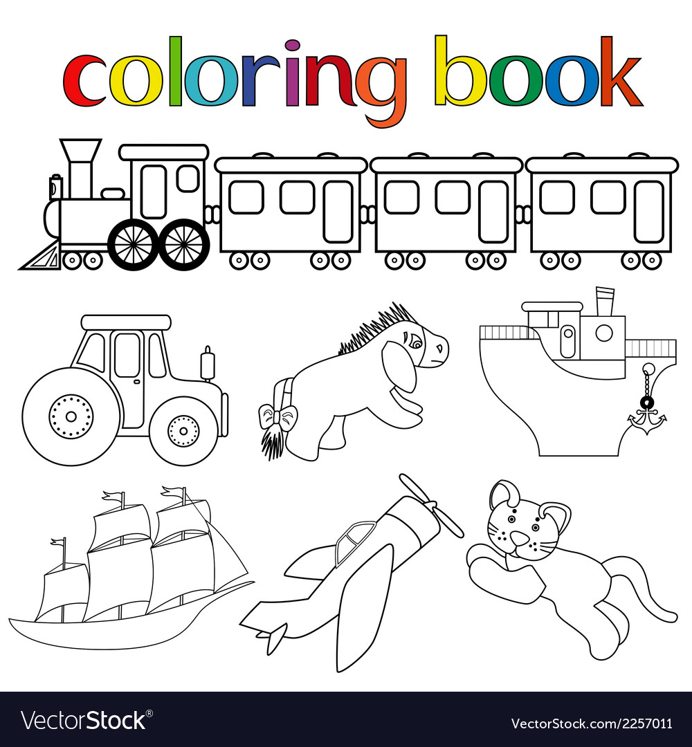 Set of different toys for coloring book vector | Price: 1 Credit (USD $1)