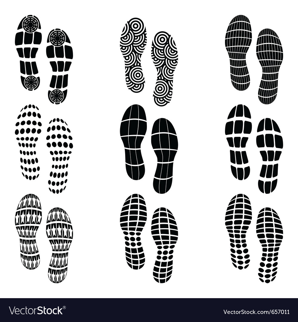 Shoeprint traces vector | Price: 1 Credit (USD $1)