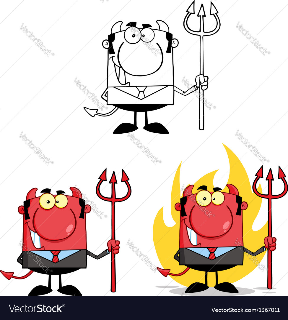 Smiling devil boss with a trident collection vector | Price: 1 Credit (USD $1)