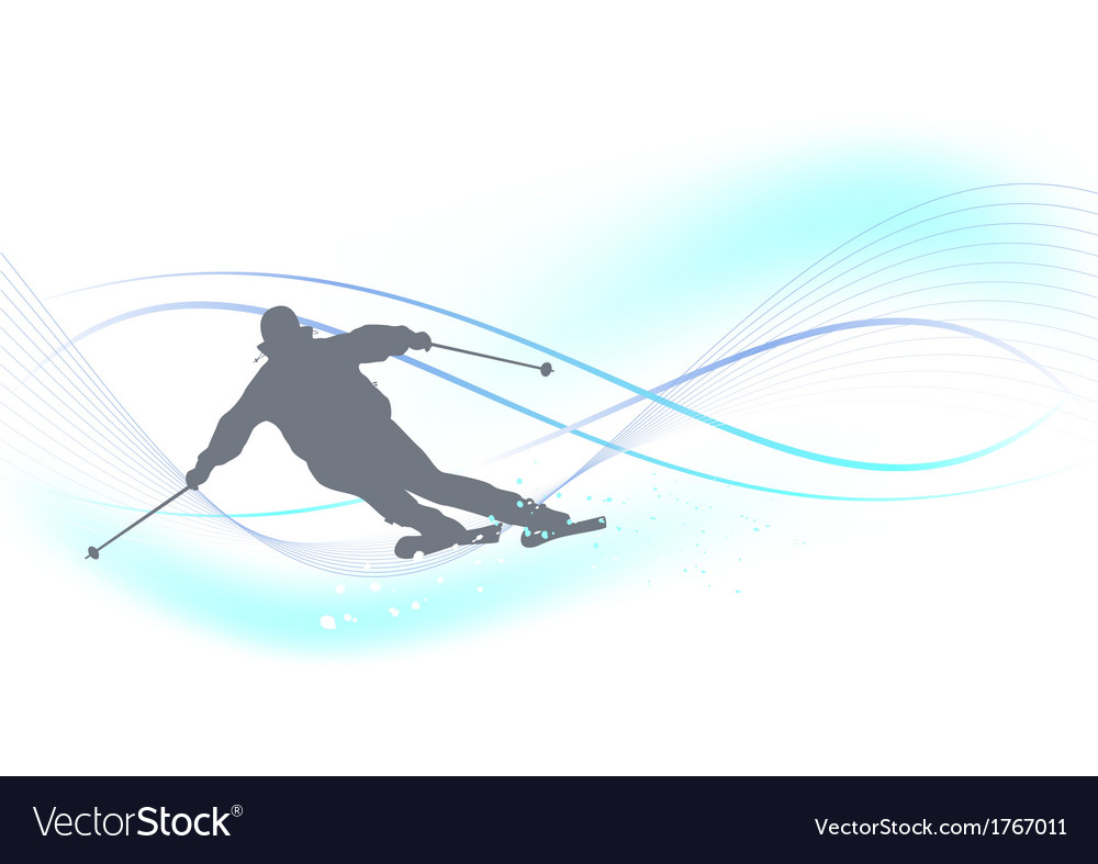 Winter background with a skier vector | Price: 1 Credit (USD $1)