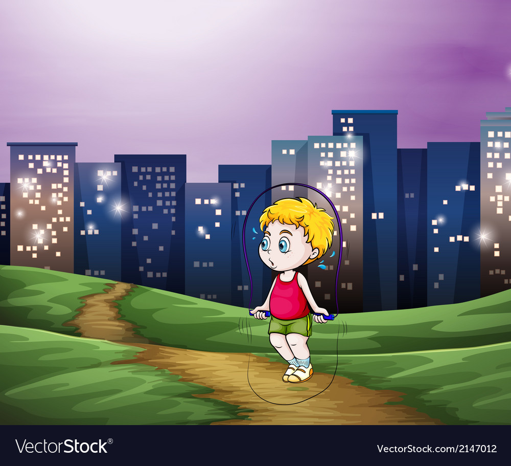 A young boy playing across the tall buildings in vector | Price: 3 Credit (USD $3)