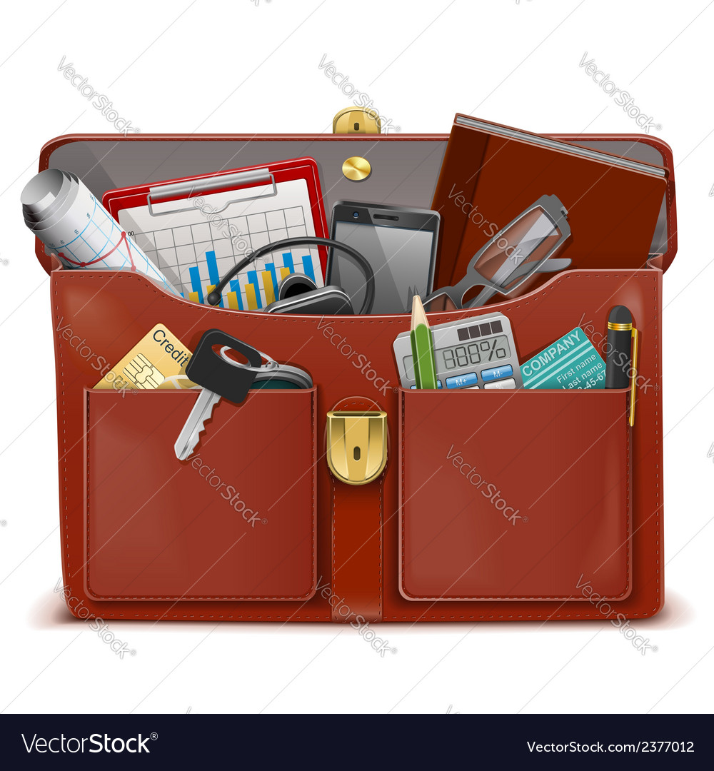Briefcase with accessories vector | Price: 1 Credit (USD $1)