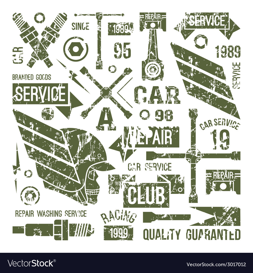 Car service badges in retro style vector | Price: 1 Credit (USD $1)