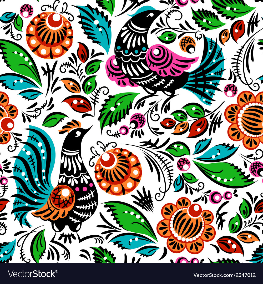 Folk painting seamless vector | Price: 1 Credit (USD $1)