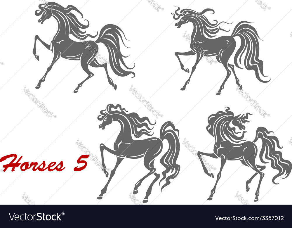 Gray horses in different expressions vector | Price: 1 Credit (USD $1)