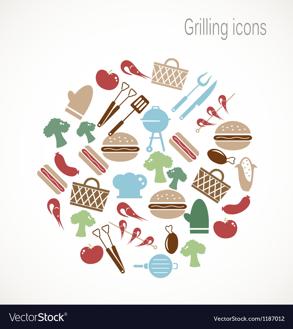 Grilling icons vector | Price: 1 Credit (USD $1)