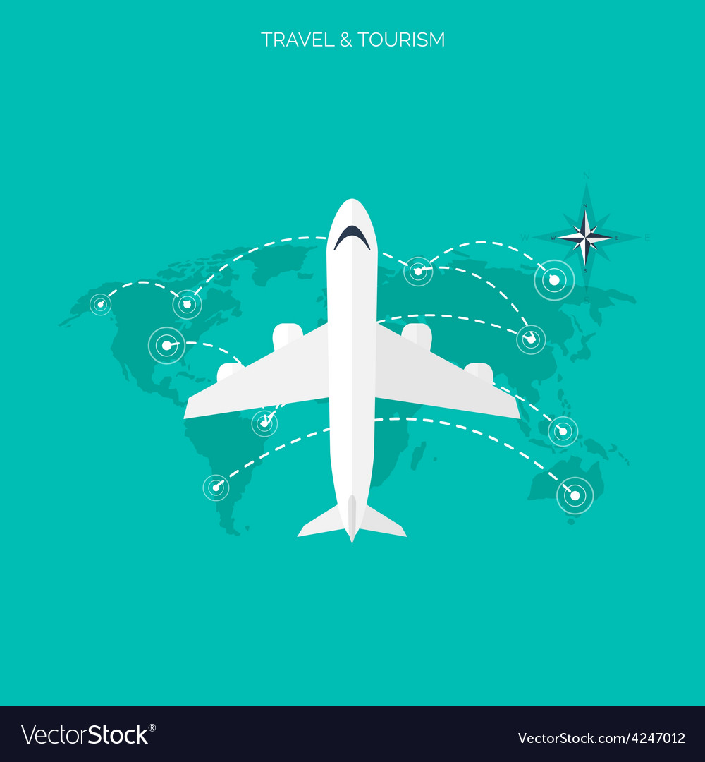 Plane icon world travel concept background flat vector | Price: 1 Credit (USD $1)