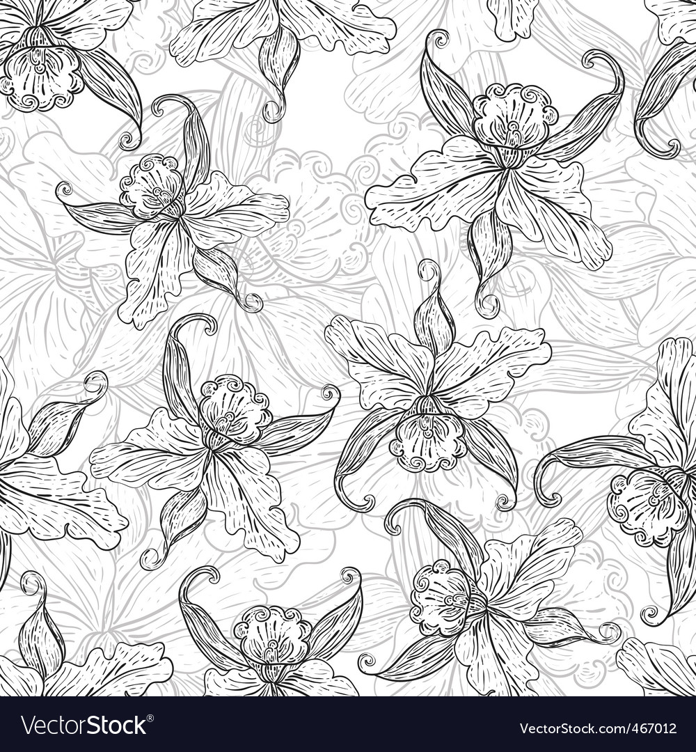 Seamless monochrome background with lilies vector   Price: 1 Credit (USD $1)