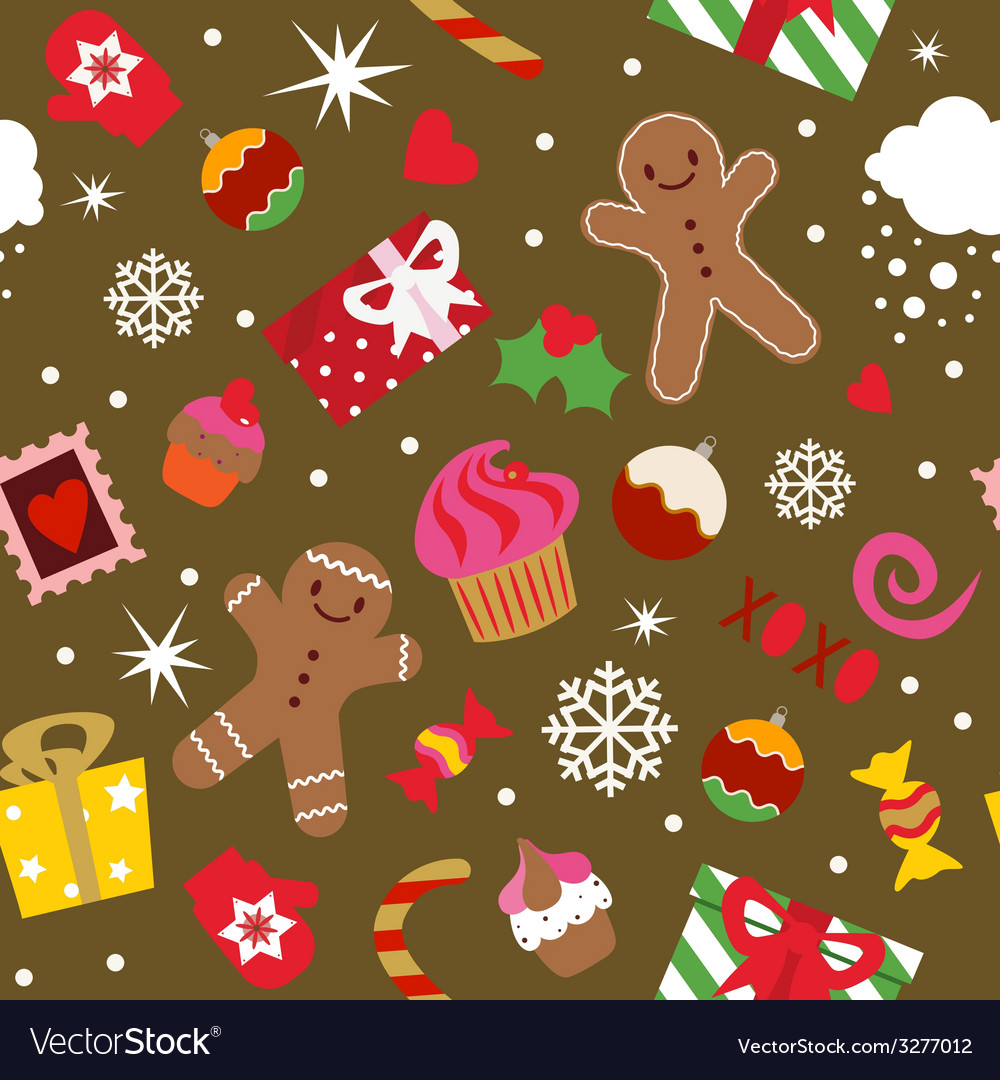Seamless print christmas holidays elements vector   Price: 1 Credit (USD $1)