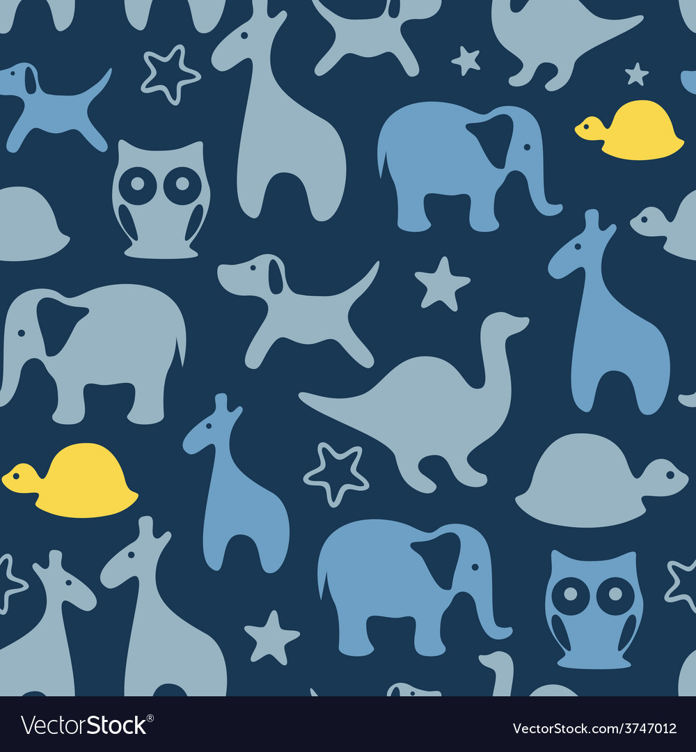 Seamless print with cartoon animals vector | Price: 1 Credit (USD $1)