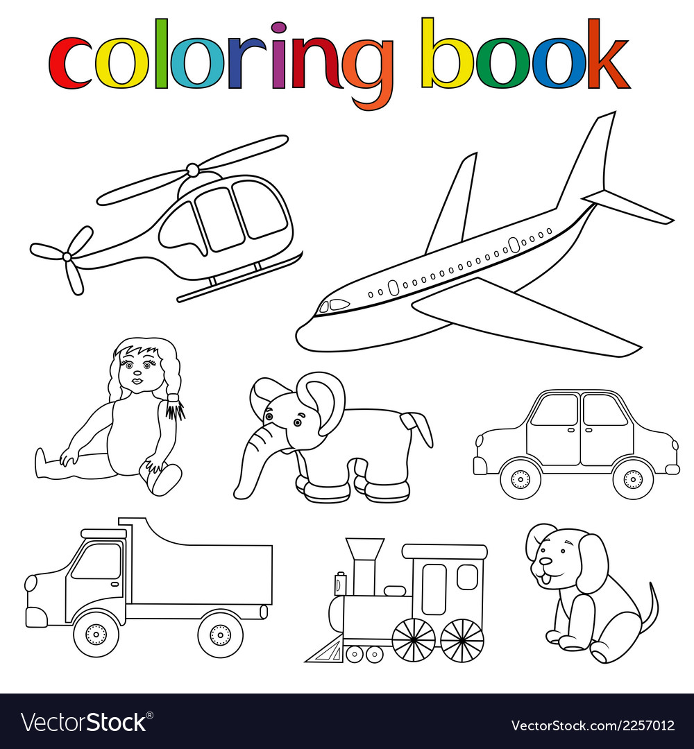 Set of various toys for coloring book vector | Price: 1 Credit (USD $1)