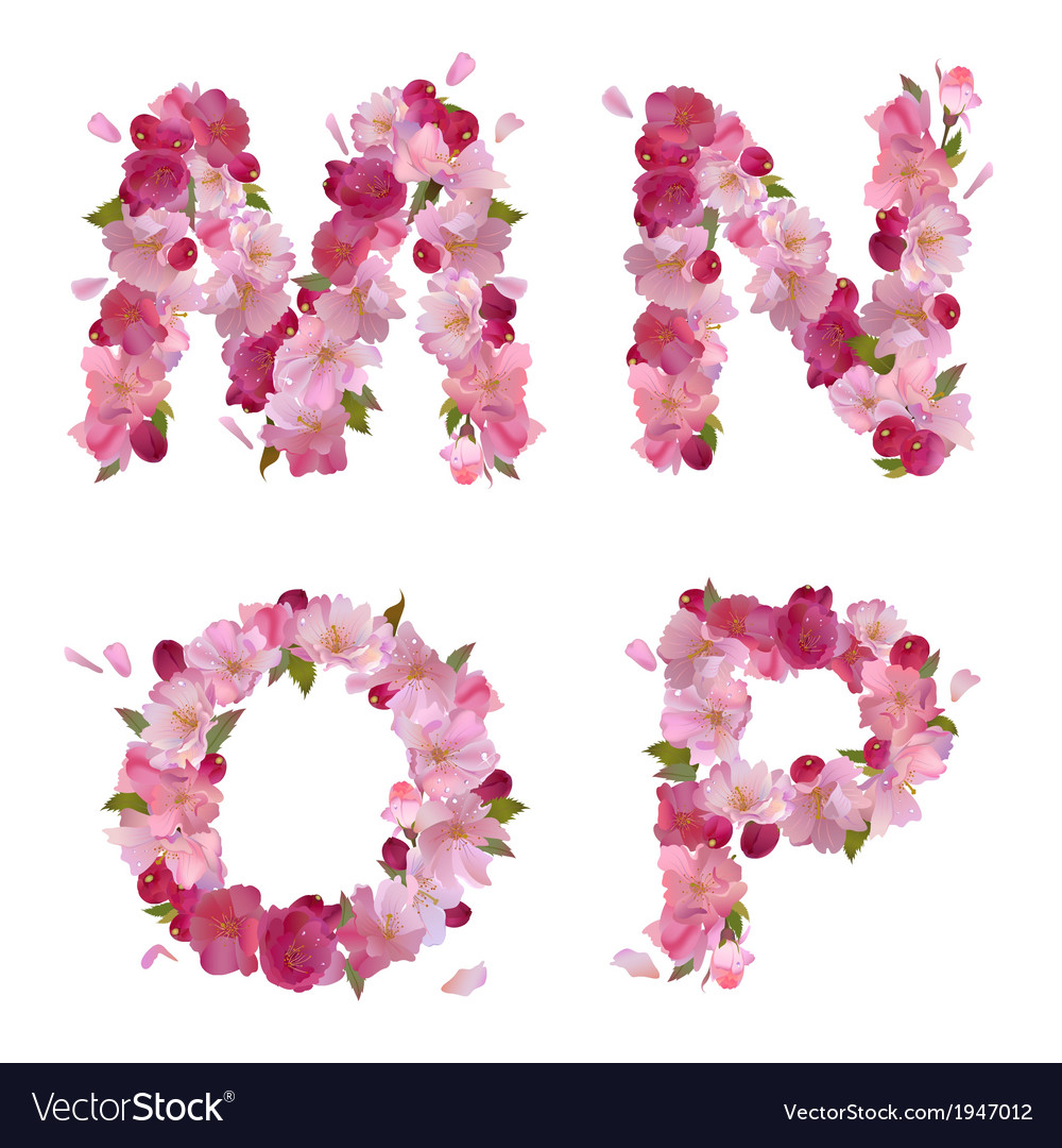 Spring alphabet with cherry flowers mnop vector | Price: 1 Credit (USD $1)