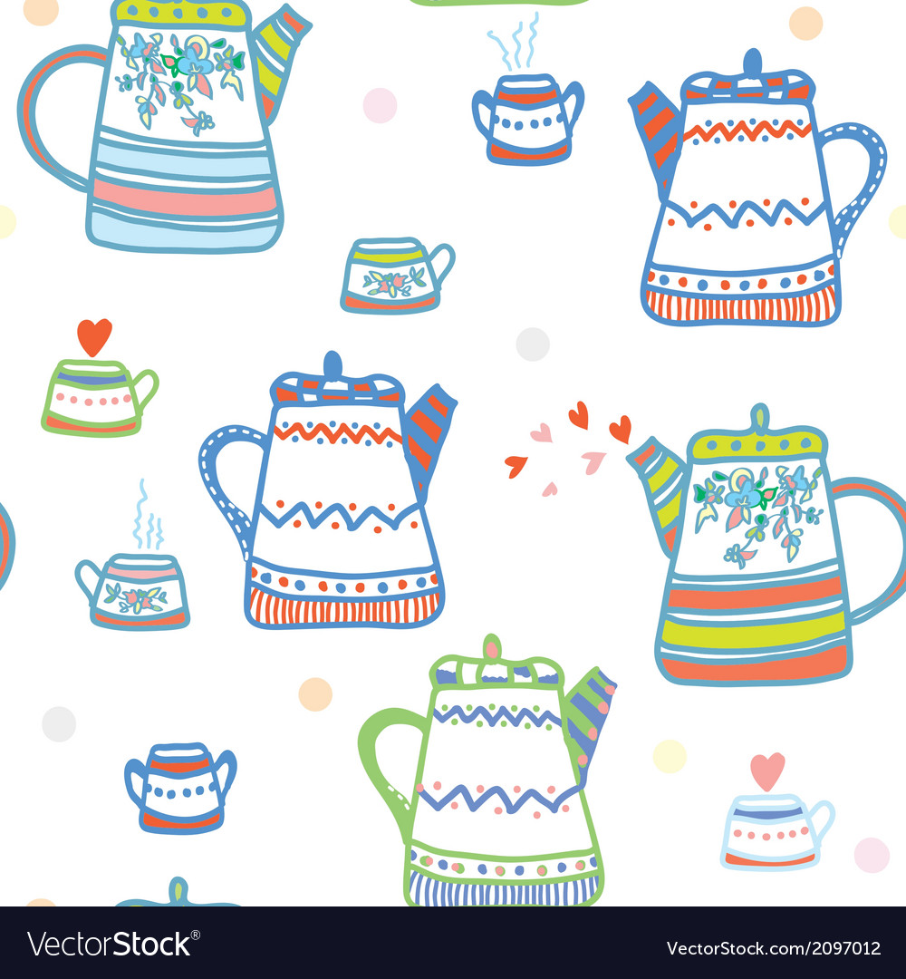 Tea seamless pattern with pots and cup cute vector | Price: 1 Credit (USD $1)
