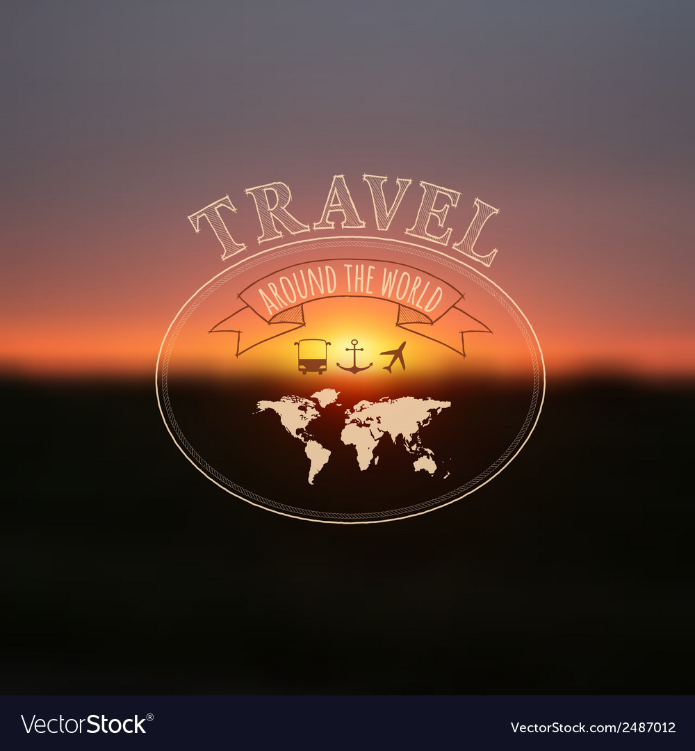 Travel label on blurred sunset background hipster vector | Price: 1 Credit (USD $1)