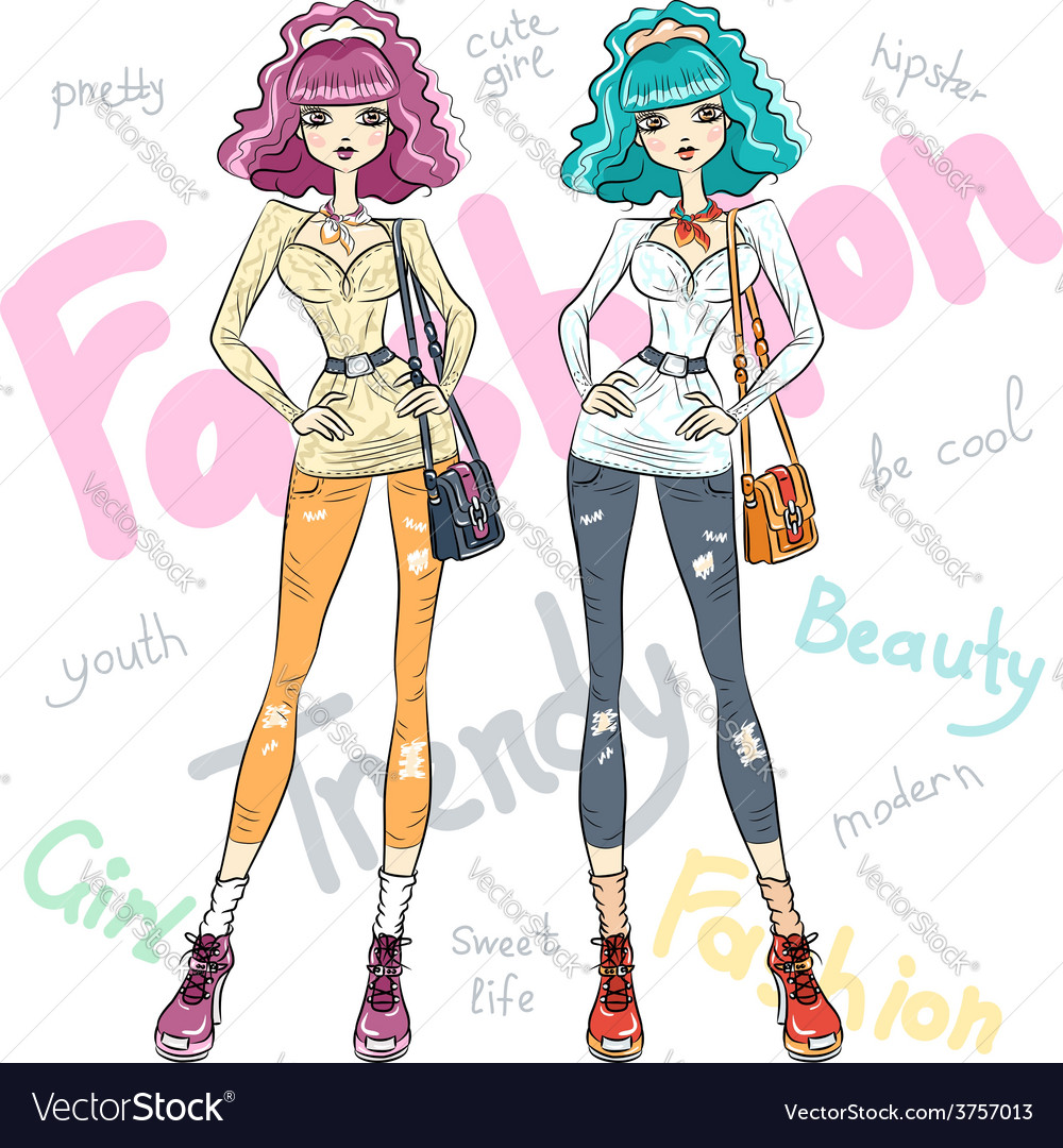 Beautiful fashion girls top models vector | Price: 1 Credit (USD $1)