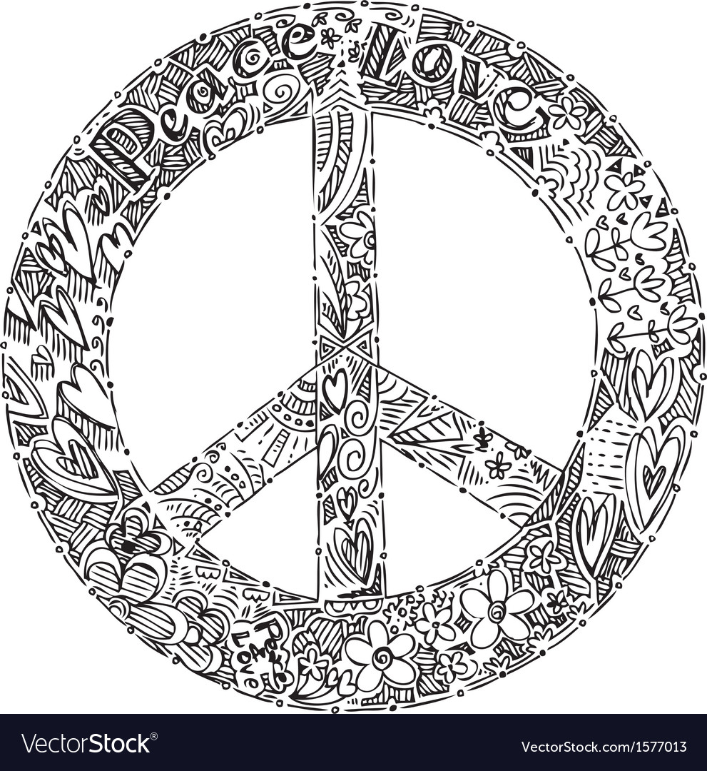 Black and white peace symbol vector | Price: 1 Credit (USD $1)