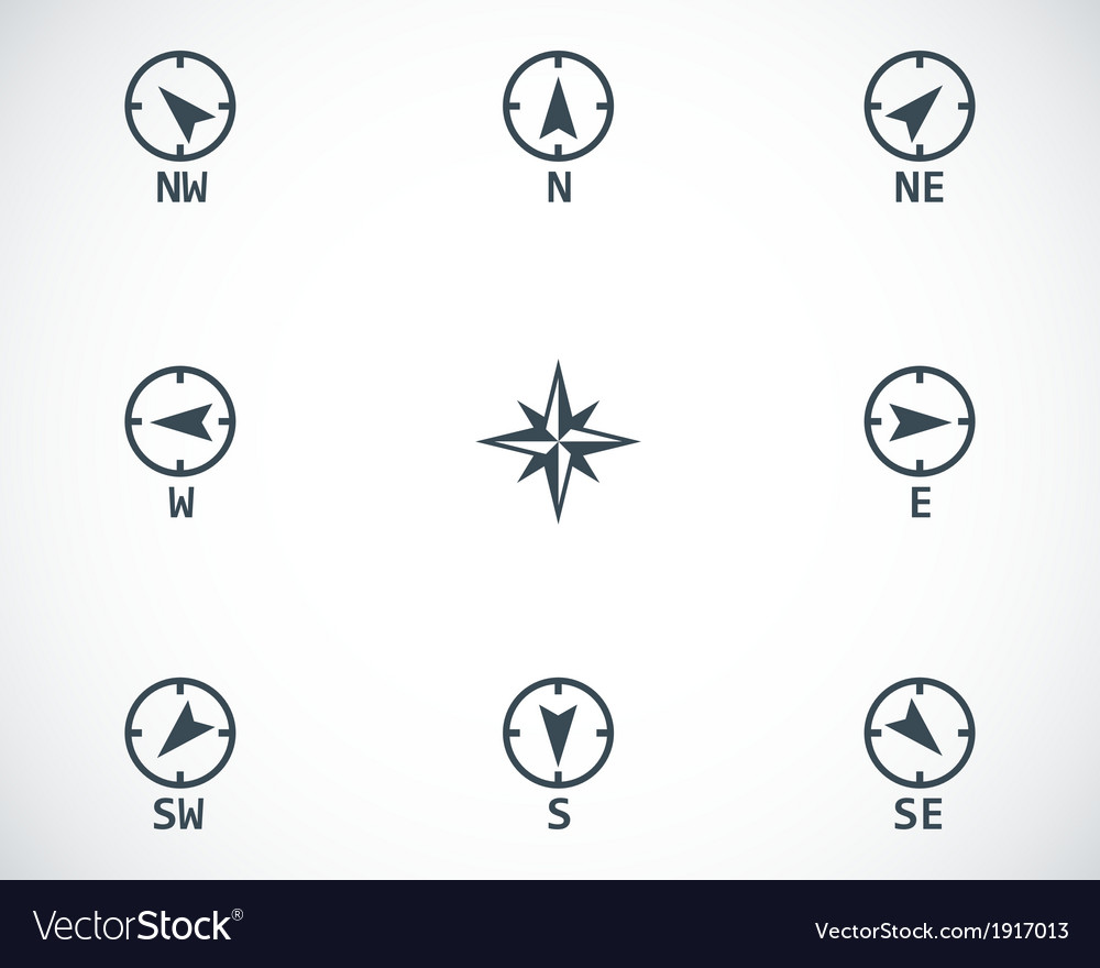 Black wind rose icons set vector | Price: 1 Credit (USD $1)