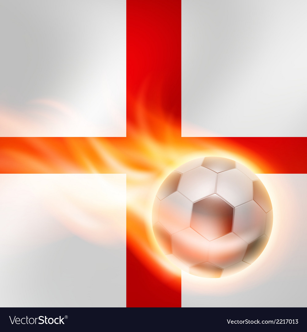 Burning football on england flag background vector | Price: 1 Credit (USD $1)