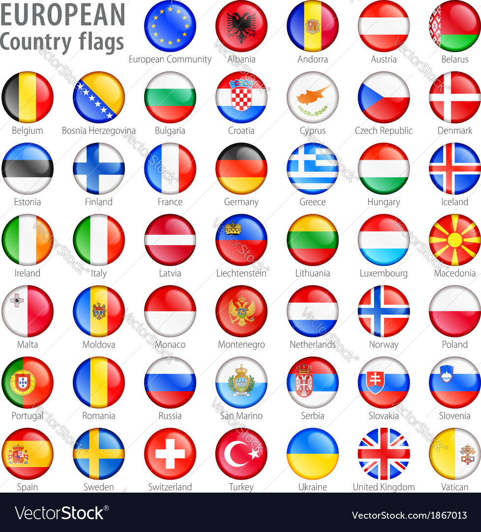 European flag buttons set vector | Price: 1 Credit (USD $1)