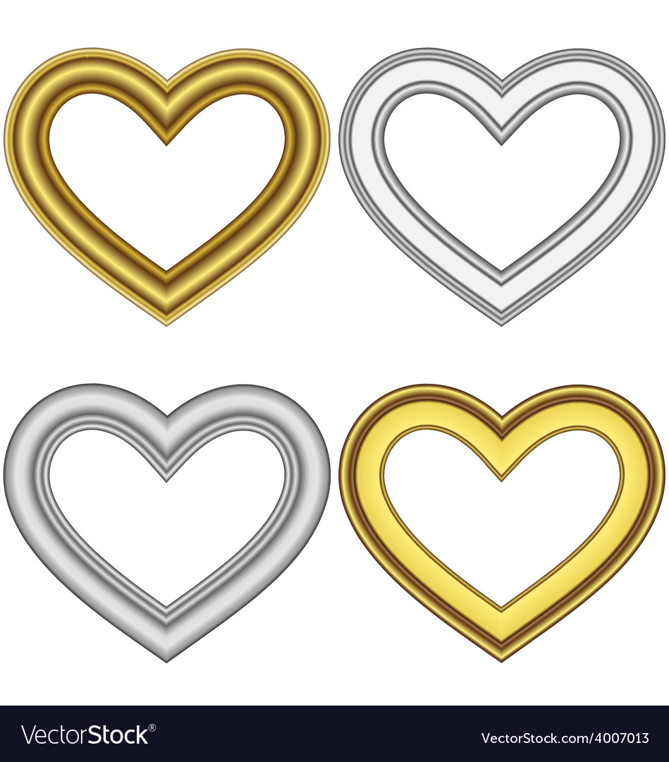 Four hearts love frames isolated on white vector | Price: 1 Credit (USD $1)