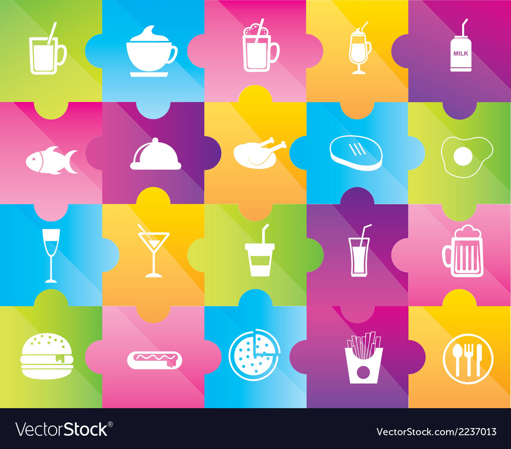 Icons of drinks and food vector | Price: 1 Credit (USD $1)