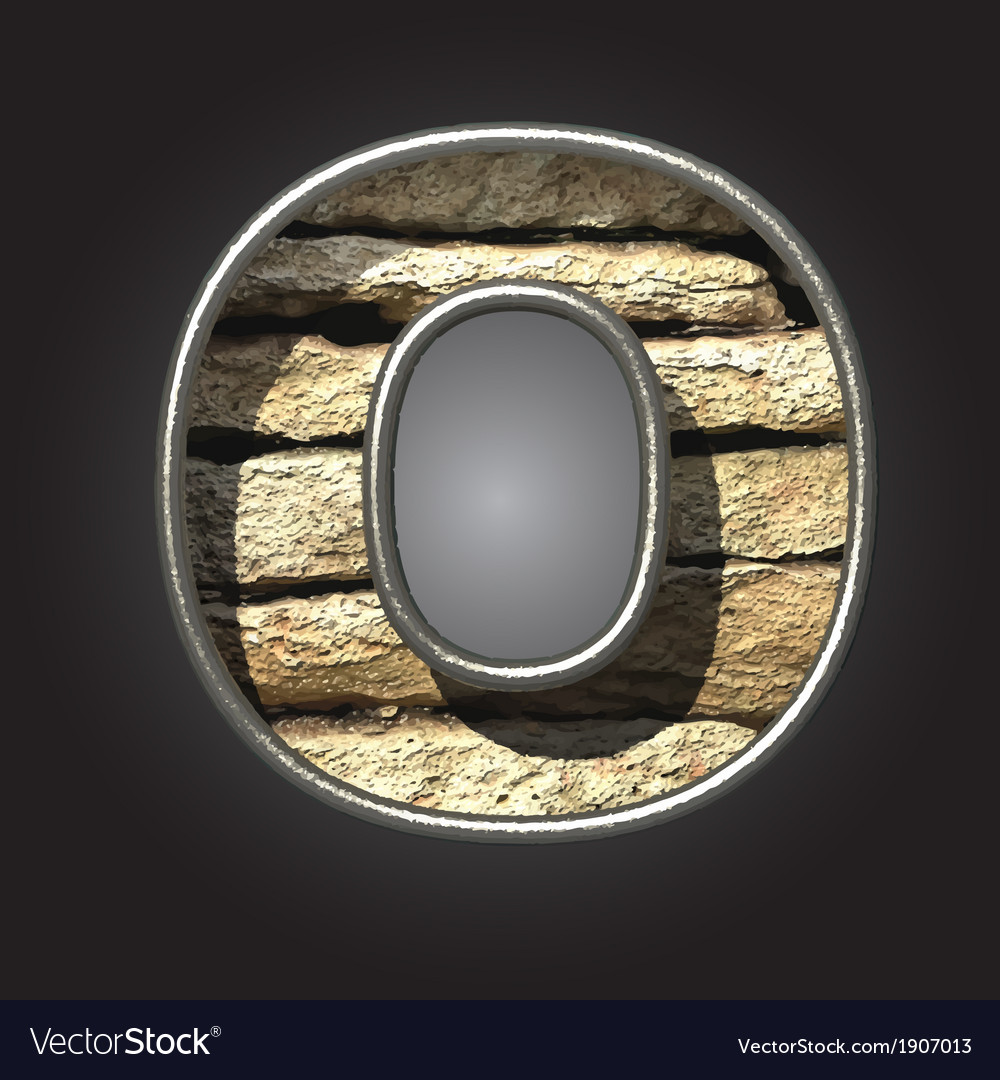 Old stone letter o vector | Price: 1 Credit (USD $1)