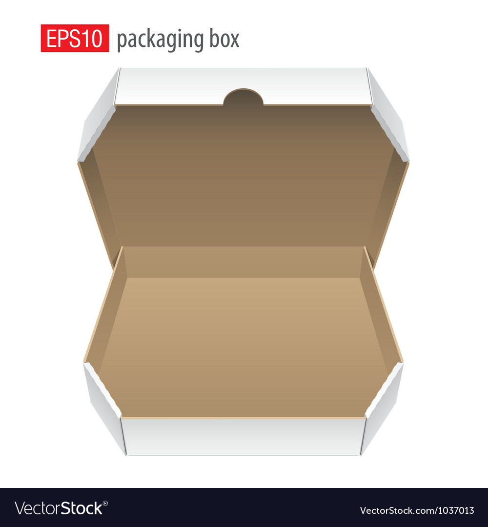 Realistic white opened package cardboard box for vector | Price: 1 Credit (USD $1)