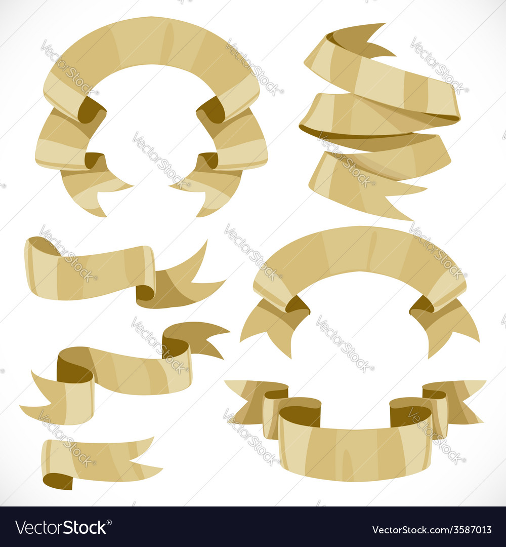 Set of festive golden ribbons various forms for vector | Price: 3 Credit (USD $3)