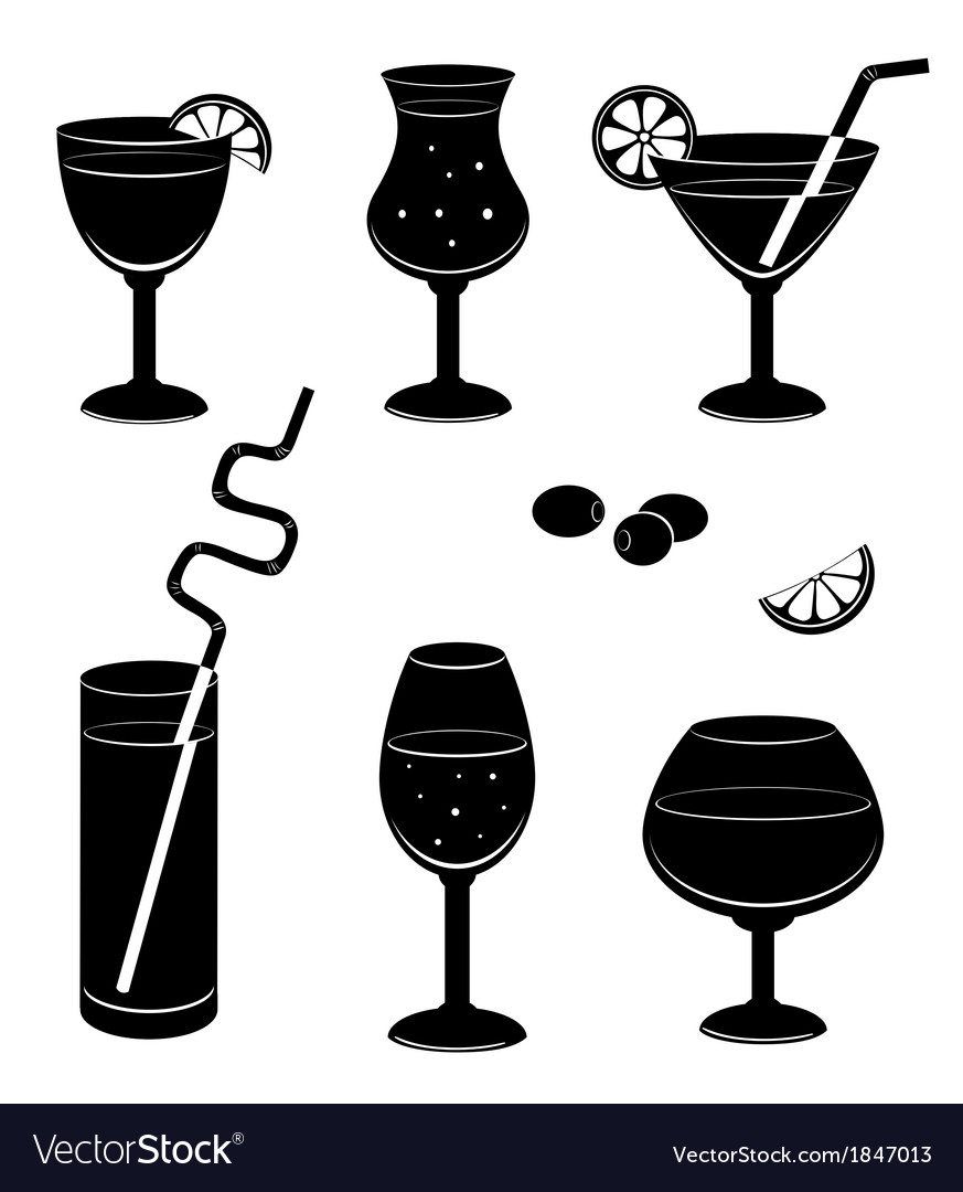 Silhouettes glasses for wine vector | Price: 1 Credit (USD $1)