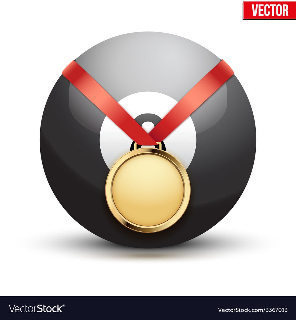 Sport gold medal with ribbon for winning pool vector | Price: 1 Credit (USD $1)