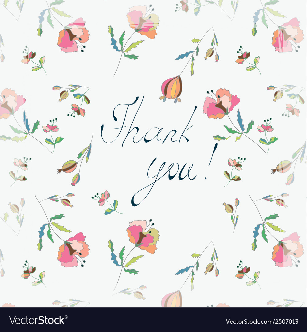 Thank you floral greeting card vector | Price: 1 Credit (USD $1)