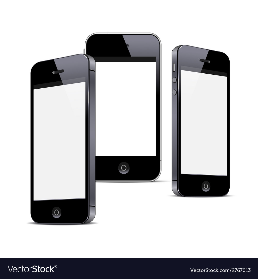 Three black smartphones isolated on white vector   Price: 1 Credit (USD $1)