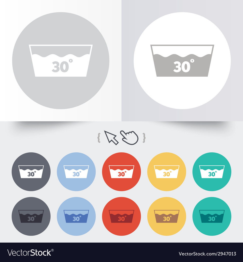 Wash icon machine washable at 30 degrees symbol vector | Price: 1 Credit (USD $1)